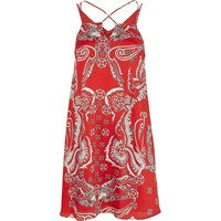 River Island Red Paisley Print Cross Strap Slip Dress