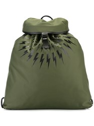 Neil Barrett Lightning Bolt Print Backpack Green
