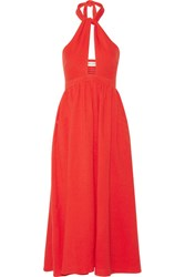 Mara Hoffman Cutout Cotton Gauze Halterneck Midi Dress Tomato Red