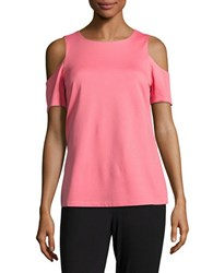 Ellen Tracy Solid Cold Shoulder Top Pink