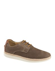 Johnston And Murphy Bowling Nubuck Leather Perforated Sneakers Dark Taupe