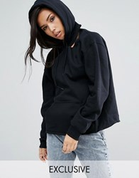 Milk It Vintage Pull Over Hoodie With Cut Out Detail Black