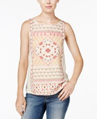 Lucky Brand Short Sleeve Embroidered Top Bone White