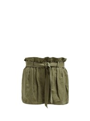 Frame Paperbag Waist Linen Blend Shorts Green