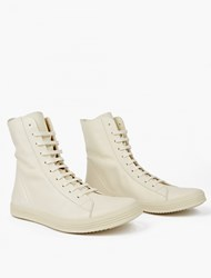 Rick Owens Cream Leather Hi Top Sneakers White