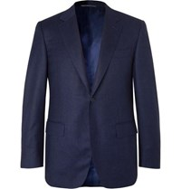 Canali Navy Super 120S Micro Checked Wool Suit Jacket Navy