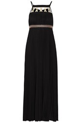 Rachel Zoe Gwynn Embellished Pleated Voile Midi Dress Black