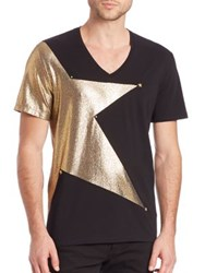 Versace Foil Star T Shirt Black Gold