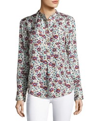 Isabel Marant Rusak Vine Print Silk Blouse Neutral Pattern