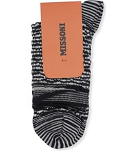 Missoni Textured Short Ankle Socks Blk Wht 012