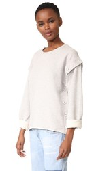 Maison Martin Margiela Mm6 Button Convertible Sweatshirt Grey Melange
