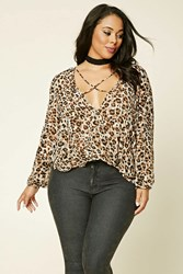 Forever 21 Plus Size Leopard Print Top Grey Brown