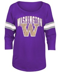 5Th And Ocean Women's Washington Huskies Stripe Sleeve Sweeper Shirt Purple