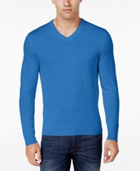 Club Room Men's Big And Tall Merino Wool V Neck Sweater Only At Macy's Palace Blue