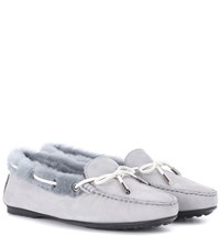 Tod's Gommino Fur Lined Suede Loafers Grey