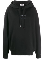 Acne Studios Cut Out Logo Hooded Sweater Black