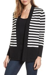 Anne Klein Women's Malibu Stripe Cardigan Black White