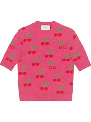 Gucci Sweater In Wool With Gg Cherry Jacquard Pink