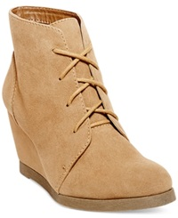 Madden Girl Madden Girl Domain Lace Up Wedge Booties Women's Shoes Taupe