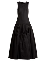 Molly Goddard Lena Drop Waist Cotton Poplin Gown Black