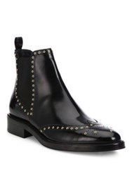 Burberry Bactonul Studded Leather Brogue Chelsea Boots Black