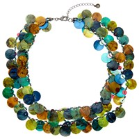 One Button Medium 3 Row Layered Mother Of Pearl Disc Necklace Teal Multi