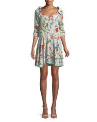 Alice Olivia Moore Button Down Layered Floral Print Silk Tunic Dress Blue Pattern