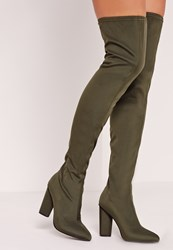 Missguided Pointed Toe Neoprene Over The Knee Boot Khaki Beige