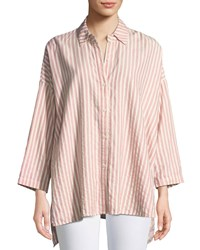 The Great Long Sleeve Side Slit Button Up Cotton Shirt Pink Pattern