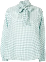 Essentiel Antwerp Santana Gingham Pussy Bow Blouse Green