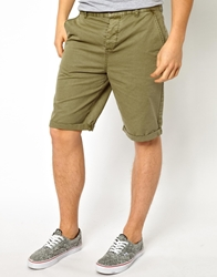 Asos Chino Shorts In Longer Length Khaki