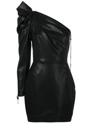 Nineminutes Asymmetric Ruched Dress Black