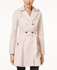 Laundry By Shelli Segal Hooded Double Breasted Trench Coat Dusty Pink