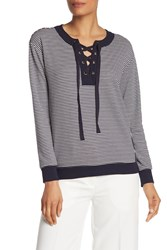 Vince Camuto Striped Long Sleeve Lace Up Top Classic Na