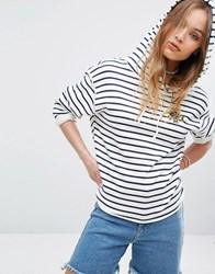 Rvca Relaxed Hoodie With Raw Hems In Stripe Multi
