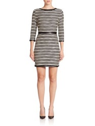 Tart Myra Striped Faux Leather Trim Dress Black White