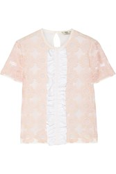 Fendi Ruffled Embroidered Tulle And Silk Chiffon Top Pastel Pink