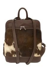 Ili Genuine Calf Hair Leather Backpack Brown