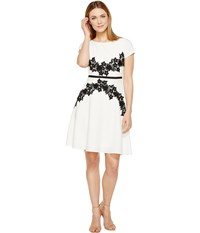 Adrianna Papell Cap Sleeve Fit And Flare Dress Ivory Black Women's Dress Multi