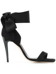 Lanvin Tie Ankle Open Toe Heels Black