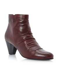 Linea Nuneaton Rouched Vamp Ankle Boots Burgundy