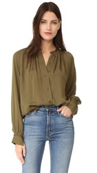 Vince Pleated Hand Stitch Blouse Fatigue