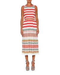 Missoni Crewneck Sleeveless Knit Midi Dress Red Multi Multi Colors