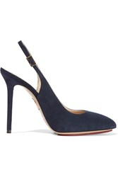 Charlotte Olympia Monroe Suede Slingback Pumps Blue