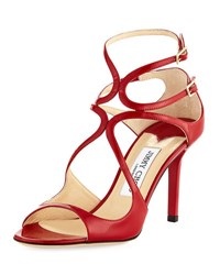 Jimmy Choo Ivette Strappy Patent Sandal Red
