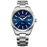 Rotary Men's Havana Automatic Date Bracelet Strap Watch Silver Blue