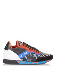 Etro Paisley Print Nylon And Suede Low Top Trainers