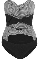 Lisa Marie Fernandez Poppy Gingham Seersucker Bandeau Swimsuit Black