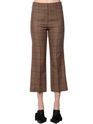 Veronica Beard Cormac Wool Blend Prince Of Wales Pants Beige