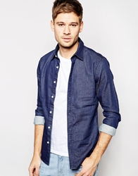 Asos Stretch Shirt In Long Sleeve With Rinse Wash Denim Rinsewash